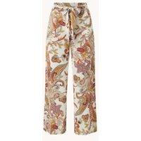 Summum Woman High waist loose fit pantalon met steekzakken en paisley dessin
