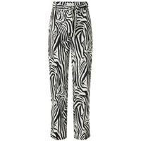MANGO Zebra high waist loose fit broek met ceintuur en zebraprint