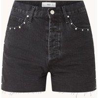 MANGO Paty high waist straight fit korte broek van denim