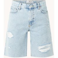 MANGO High waist straight fit korte spijkerbroek met ripped details