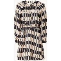 MANGO Molly mini blousejurk met grafische print en pofmouw