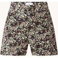 MANGO Martina high waist straight fit korte broek met bloemenprint