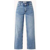 MANGO Casilda high waist wide fit jeans met gerafelde zoom