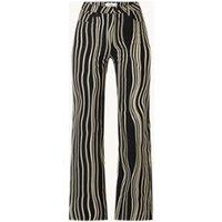 MANGO Jules high waist straight leg jeans met streepprint