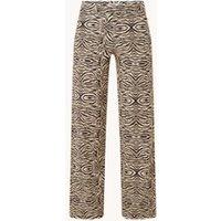 Studio Anneloes Marilyn high waist straight fit pantalon van travelstof met zebraprint