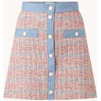 Maje Jenise minirok van tweed met denim details