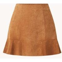 Maje Jendrie mini rok van geitensuede met volant