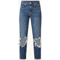 Maje Peterson high waist tapered cropped ripped jeans