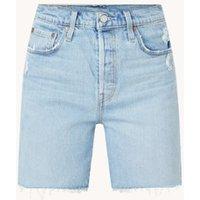 Levi's 501 Mid Thigh high waist straight fit korte spijkerbroek met destroyed details