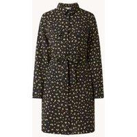 EDITED Farha mini blousejurk met bloemenprint en strikceintuur