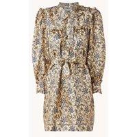 Sandro Mini jurk van zijde met paisley print en strikceintuur