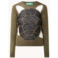 Benetton Fijngebreide pullover in linnenblend