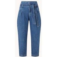 Benetton High waist tapered fit cropped jeans met strikceintuur