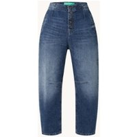 Benetton Jane high waist tapered cropped jeans met medium wassing
