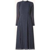 Whistles Midi jurk met keyhole en ingeweven stippenprint