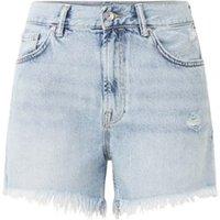 ALLSAINTS Yanni high waist korte spijkerbroek met gerafelde zoom
