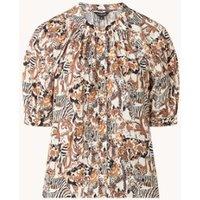 Whistles Camo Safari blouse met dierenprint en halflange mouw
