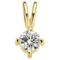Diamond Point Geelgouden solitair groeibriljant hanger, 0-16 ct- 0-16 ct diamant Groeibriljant
