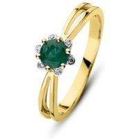 Diamond Point Geelgouden ring 0-38 ct smaragd Empress
