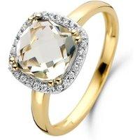 Diamond Point Geelgouden ring 2-40 ct groene amethist Fiësta