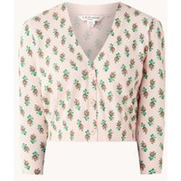 L-K-Bennett Aurelia fijngebreid cropped vest met bloemenprint