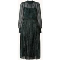 L-K-Bennett Marianne midi jurk met plissé en stippenprint