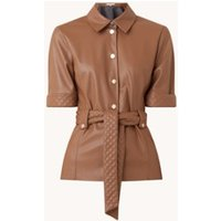 Fifth House Mac blouse van imitatieleer met strikceintuur