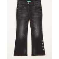 Benetton High waist flared fit jeans met glitterprint