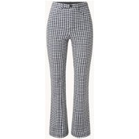 Vanilia High waist flared fit broek met ruitdessin