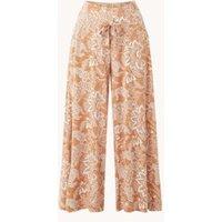 Vanilia High waist wide fit culotte met bladprint en steekzakken