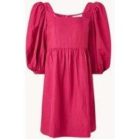 ba&sh Palerme mini jurk in linnenblend met pofmouw
