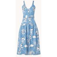 Reiss Noah midi jurk in lyocellblend met bloemenprint en steekzakken