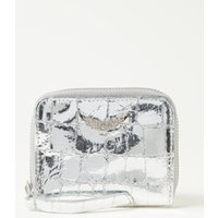 Zadig&Voltaire Mini portemonnee van leer met crocostructuur en metallic finish