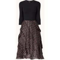 Maje Midi jurk met strikceintuur en print