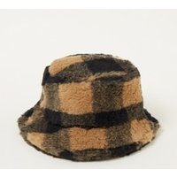 Stand Studio Wera bucket hoed in wolblend met ruitdessin