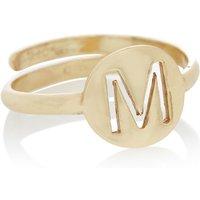 LOTT- gioielli Verstelbare ring Initial M verguld