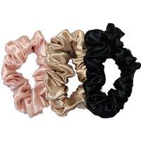 slip Silk Scrunchies large haarelastiek van zijde set van 3