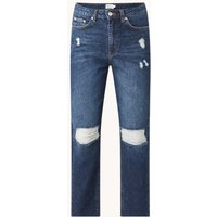 NA-KD High waist tapered fit cropped jeans met ripped details
