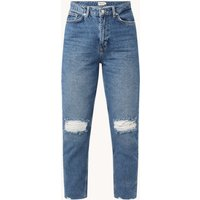 NA-KD High waist straight fit cropped jeans met ripped details