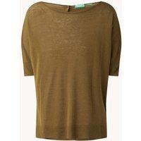 Benetton Fijngebreid T-shirt in linnenblend met boothals