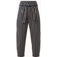 Benetton High waist tapered fit cropped pantalon met streepprint