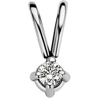 Diamond Point Witgouden solitair groeibriljant hanger, 0-03 ct- 0-03 ct diamant Groeibriljant