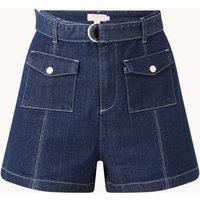 Ted Baker Shortan high waist straight fit korte broek van denim met ceintuur