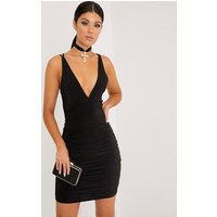 Agness Black Cross Back Ruched Bodycon Dress, Black