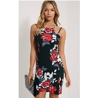 PrettyLittleThingAshleigh Red Crepe Floral Curved Hem Mini Dress, Red