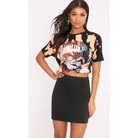 Basic Jersey Black Mini Skirt, Black