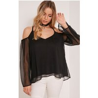 zeta-black-cold-shoulder-chiffon-top-black