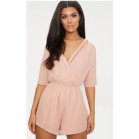Bobby Nude Wrap Front Playsuit, Pink