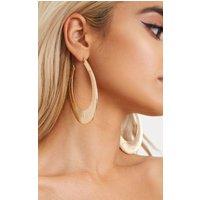 Gold Large Oval Line Detail Hoop Earrings, Gold
