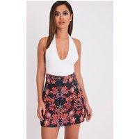 Deltie Black Oriental Print A-Line Mini Skirt, Black